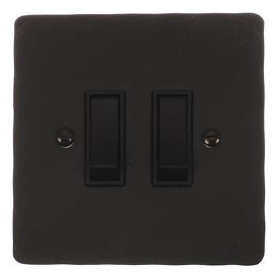 2 Gang Black Grid Switch Beeswax Hammered Plate