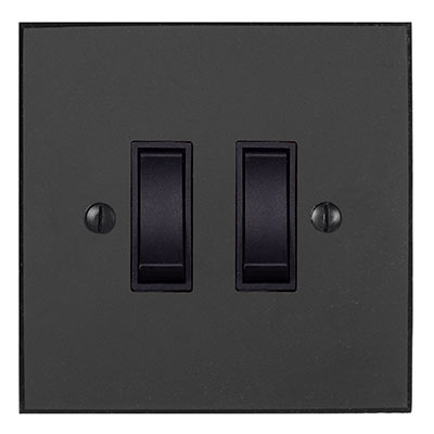 2 Gang Black Grid Switch Beeswax Bevelled Plate