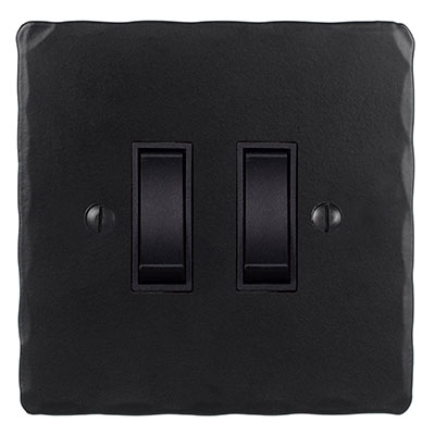 2 Gang Black Grid Switch Matt Black Hammered Plate