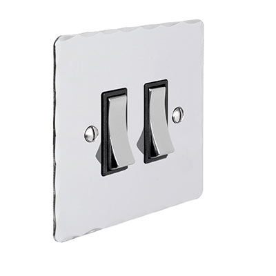 2 Gang Chrome Grid Switch Nickel Hammered Plate