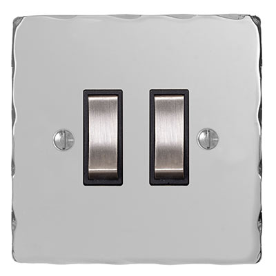 2 Gang Steel Grid Switch Nickel Hammered Plate(discontinued, only stock shown available)