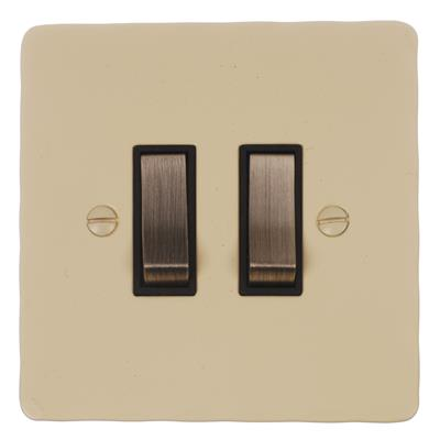2 Gang Steel Grid Switch Plain Ivory Hammered(discontinued, only stock shown available)