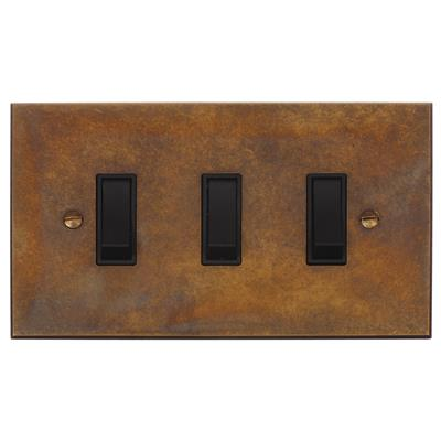 3 Gang Black Grid Switch Antiqued Brass Bevelled(discontinued, only stock shown available)