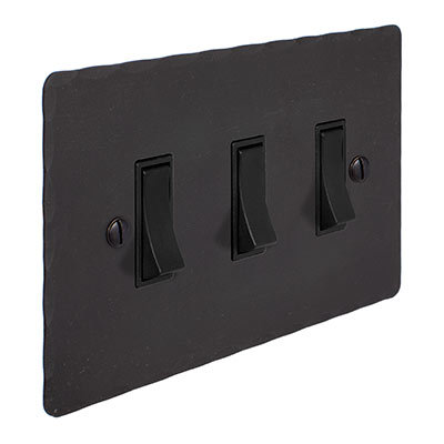 3 Gang Black Grid Switch Beeswax Hammered Plate