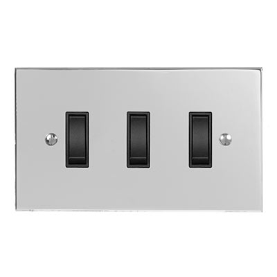 3 Gang Black Grid Switch Nickel Bevelled Plate (discontinued, only stock shown available)
