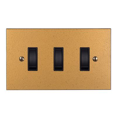 3 Gang Black Grid Switch Old Gold Bevelled Plate(discontinued, only stock shown available)
