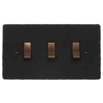 3 Gang Brass Grid Switch Matt Black Hammered Plate(discontinued, only stock shown available)