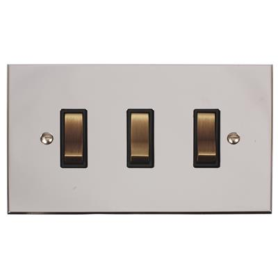 3 Gang Brass Grid Switch/Nickel Bevelled Plate