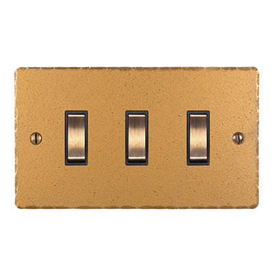 3 Gang Brass Grid Switch Old Gold Hammered Plate(discontinued, only stock shown available)