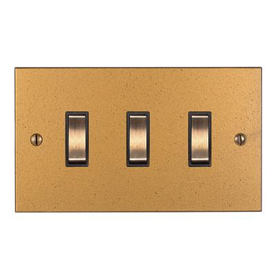 3 Gang Brass Grid Switch Old Gold Bevelled Plate(discontinued, only stock shown available)