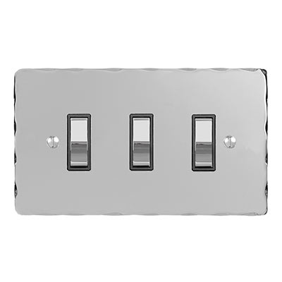 3 Gang Chrome Grid Switch Nickel Hammered Plate