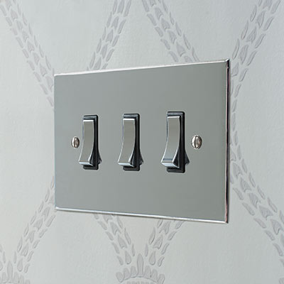 3 Gang Chrome Grid Switch Nickel Bevelled Plate