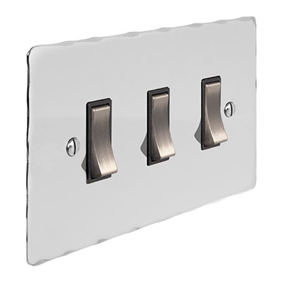 3 Gang Steel Grid Switch Nickel Hammered Plate (discontinued, only stock shown available)