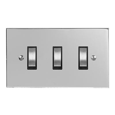 3 Gang Steel Grid Switch Nickel Bevelled Plate (discontinued, only stock shown available)