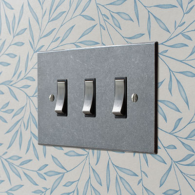 3 Gang Steel Grid Switch Polished Bevelled Plate
