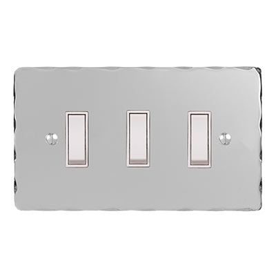 3 Gang White Grid Switch Nickel Hammered Plate (discontinued, only stock shown available)