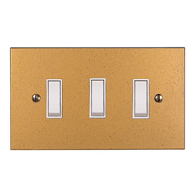 3 Gang White Grid Switch Old Gold Bevelled Plate(discontinued, only stock shown available)