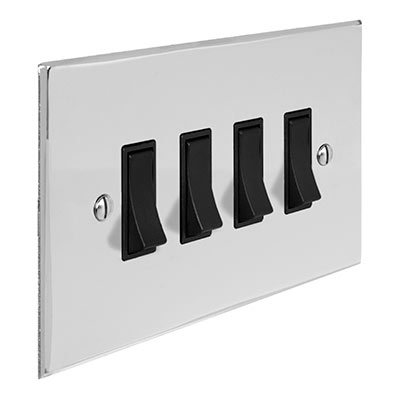 4 Gang Black Grid Switch Nickel Bevelled Plate(discontinued, only stock shown available)