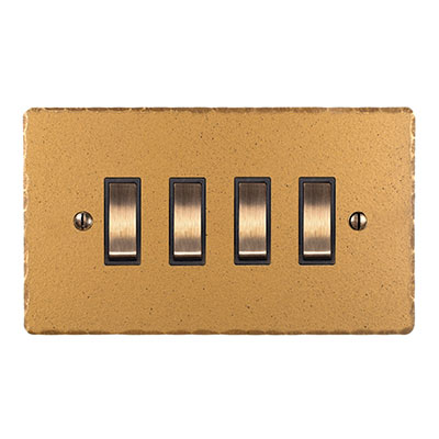 4 Gang Brass Grid Switch Old Gold Hammered Plate(discontinued, only stock shown available)