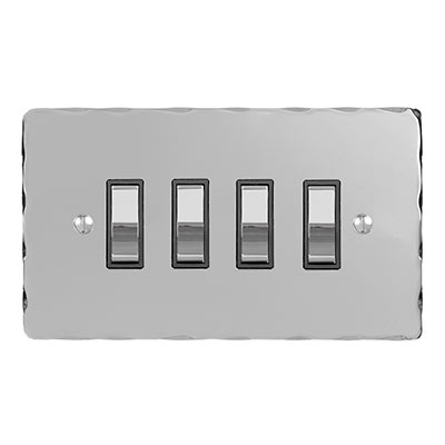 4 Gang Chrome Grid Switch Nickel Hammered Plate