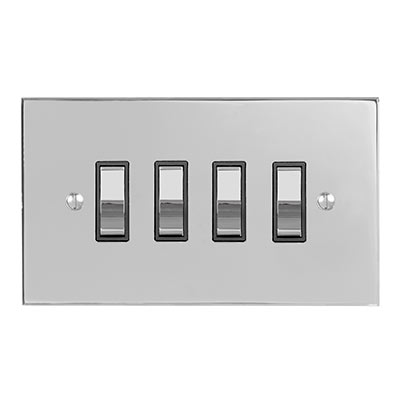 4 Gang Chrome Grid Switch Nickel Bevelled Plate