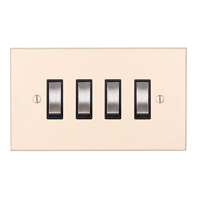 4 Gang Steel Grid Switch Plain Ivory Bevelled(discontinued, only stock shown available)