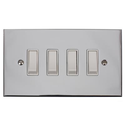 4 Gang White Grid Switch Nickel Bevelled Plate(discontinued, only stock shown available)