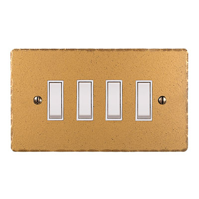 4 Gang White Grid Switch Old Gold Hammered Plate(discontinued, only stock shown available)