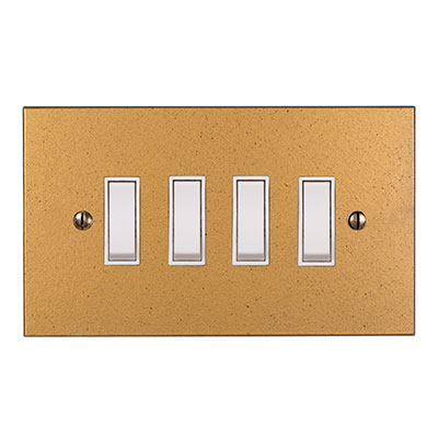 4 Gang White Grid Switch Old Gold Bevelled Plate(discontinued, only stock shown available)