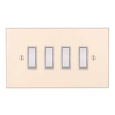 4 Gang White Grid Switch Plain Ivory Bevelled Plate