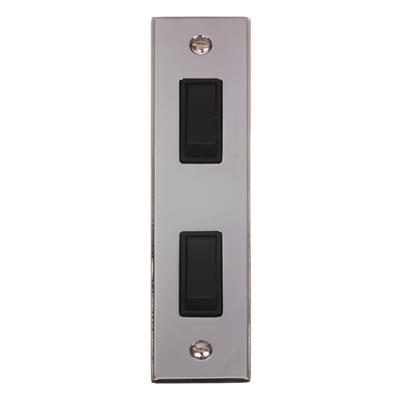 2 Gang Black Architrave Grid Switch Nickel(discontinued, only stock shown available)