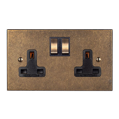 2 Gang Plug Socket Antiqued Brass Bevelled Plate, Brass Switches