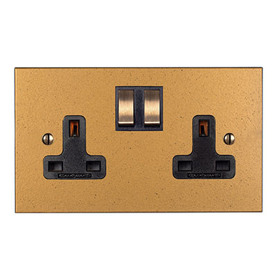 2 Gang Plug Socket Old Gold Bevelled Plate, Brass Switches