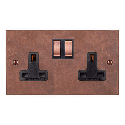 2 Gang Plug Socket Heritage Copper Bevelled Plate,Copper Switches