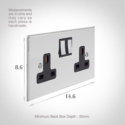 2 Gang Plug Socket Nickel Bevelled Plate, Chrome Switches