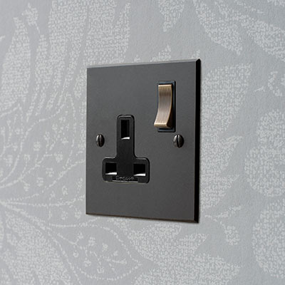 1 Gang Plug Socket Beeswax Bevelled Plate, Brass Switch