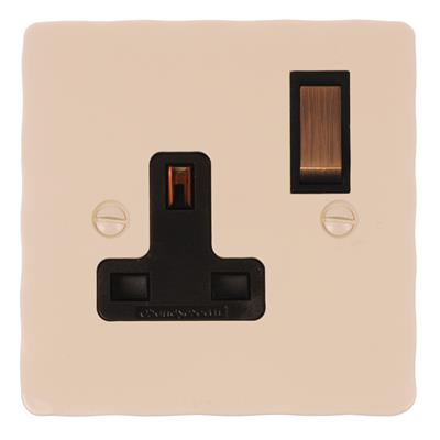 1 Gang Plug Socket Plain Ivory Hammered Plate,(discontinued, only stock shown available)