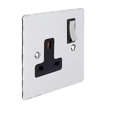 1 Gang Plug Socket Nickel Hammered Plate, Chrome Switch