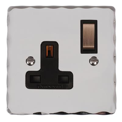 1 Gang Plug Socket Nickel Hammered Plate,(discontinued, only stock shown available)