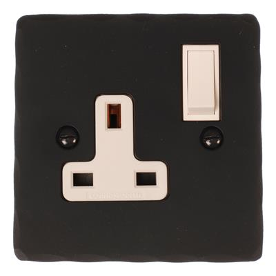 1 Gang Plug Socket Beeswax Hammered Plate,(discontinued, only stock shown available)