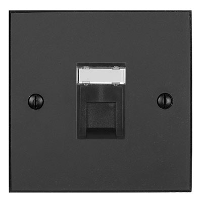1 Gang Black RJ45 Socket Beeswax Bevelled Plate