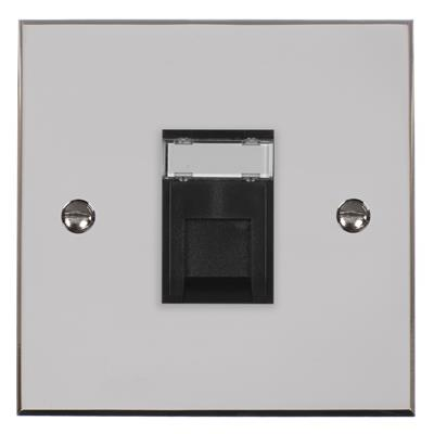 1 Gang Black RJ45 Socket Nickel Bevelled Plate