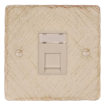 1 Gang White RJ45 Socket Old Ivory Hammered Plate
