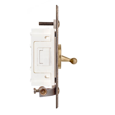 1 Gang Brass Dolly Architrave Switch Antiqued Brass Bevelled Plate