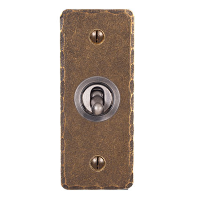 1 Gang Dolly Architrave Switch in Steel withAntiqued Brass Hammered Plate