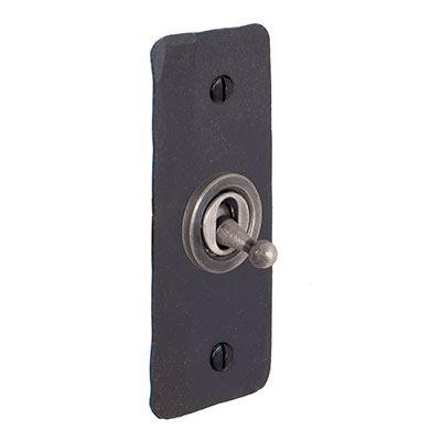 1 Gang Steel Dolly Architrave Switch BeeswaxHammered Plate
