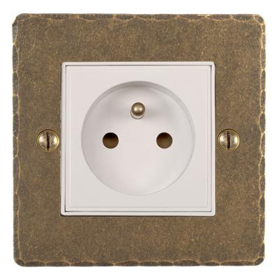 1 Gang French/Belgian Socket Antiqued Brass (discontinued, only stock shown available)