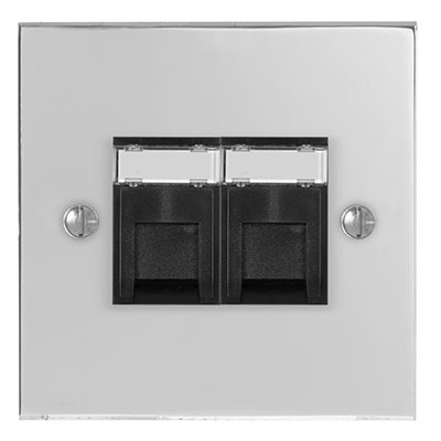 Combined BT Secondary/RJ45 Socket Nickel Bevelled Plate, Black Insert