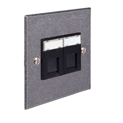 Combined BT Secondary/RJ45 Socket Polished Bevelled Plate, Black Insert