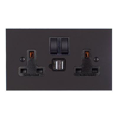 13 Amp 2 Gang Plug Socket Dual USB Port Beeswax Bevelled Plate, Black Switches